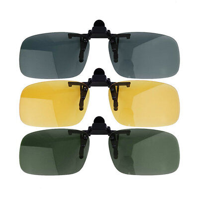 Anti-UV 400 Driving Nachtsicht Flip-up-Objektiv Coole Brillen Clip auf ObjektiL