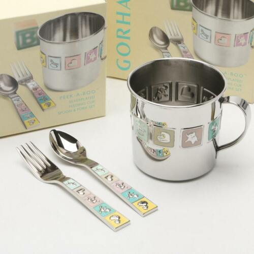 Gorham Peek A Boo Silverplated Feeding Cup, Spoon, & Fork New in Box!