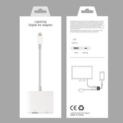 Lightning To HDMI Cable Digital AV TV Adapter For iPhone 6 7 8 X XR 11 Pro iPad