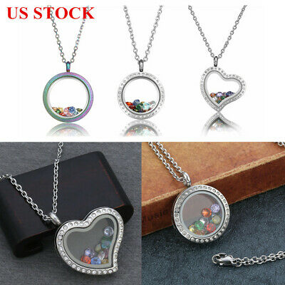 Stainless Steel Round Heart Floating Charm Locket Living Memory Pendant Necklace Floating Heart Necklace
