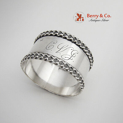 Vintage Rope Bordered Napkin Ring Sterling Silver National Silver Company 1920