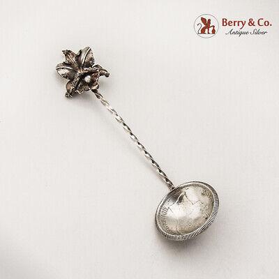 Venezuela Coin Bowl Spoon Orchid Finial Baroque Pearl 800 Silver