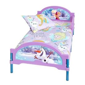 Disney frozen toddler bed. Lilac, turquoise with Olaf, Ana and Elsa. Excellent condition.
