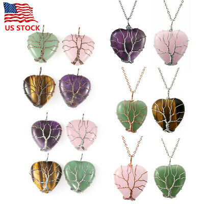 Healing Crytal Necklace Tree of Life Wire Wrapped Heart Shape Stone Pendant Gift Gemstone Heart Shape Pendant