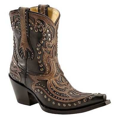 Studded Short Boot - Corral Ladies Black Short Top Inlay Studded Snip Toe Boot G1074