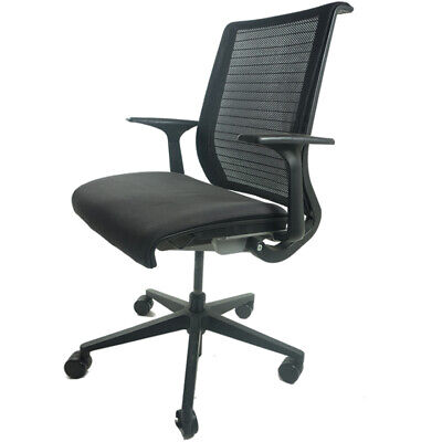 Steelcase Think Chair Black Adjustable Frame Fixed Arms With New Fabric