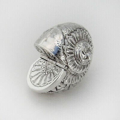 Shell Form Pill Box Repousse Design Sterling Silver