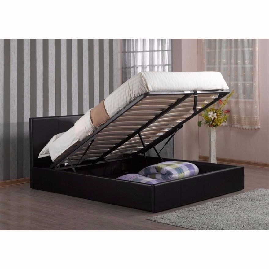 Cost Effective Double Faux Leather Gas Lift Storage Bed
