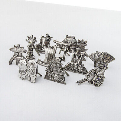 Japanese 12 Figural Place Card Holders Set 950 Sterling Silver