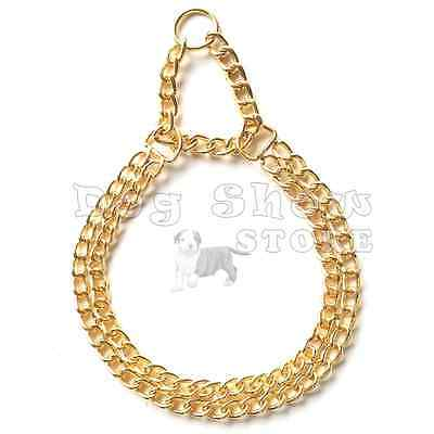 Dog show Martingale Collar Choker necklace Gold plated Double Chain solid metal Show Dog Collar
