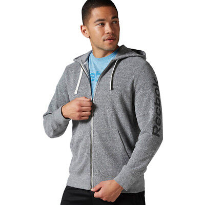 Herren Reebok Elements Big Logo French Terry Full Zip Hoodie Kapuzenpullover Full Zip Terry Hoodie