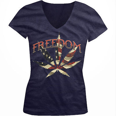 Freedom Pot Leaf Weed Red White Blue Flag Usa America Us Juniors V Neck T Shirt