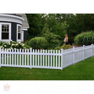 - Portable Dog Fence Outdoor Pet White Vinyl Gate No Dig Corner Semi Permanent NEW