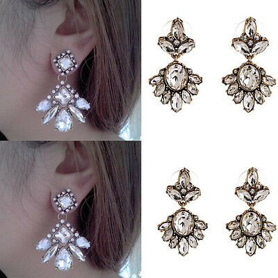 1Pair Elegant Earrings Jewelry Lady Fashion Ear Stud Crystal Rhinestone Women