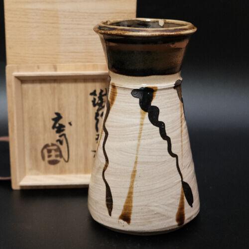 0204a SHOJI HAMADA Japanese Mashiko pottery TETSUE Vase with  box