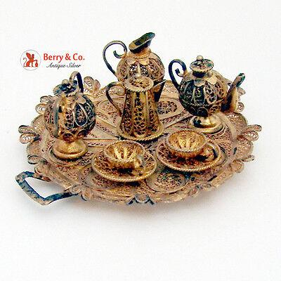 Miniature Tea Set Filigree Continental Sterling Silver Gilt 1930