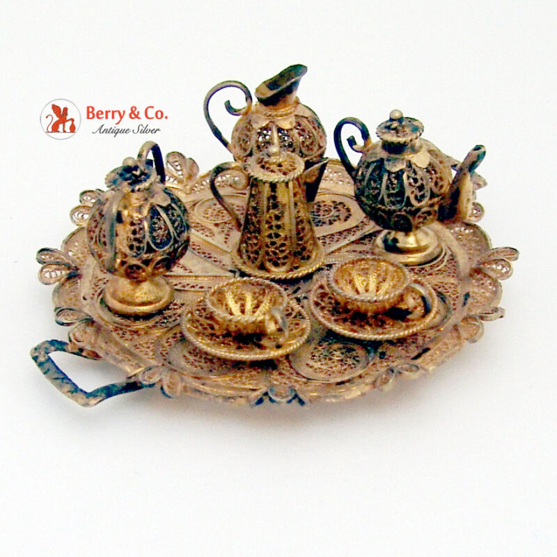 Miniature Tea Set Filigree Continental Sterling Silver Gilt 1930