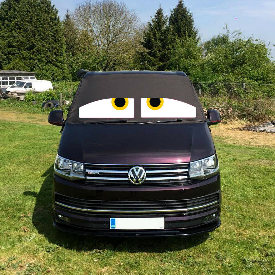 VW Transporter T6 Front Window Screen Cover Black Out Blind Frost Eyes Orange