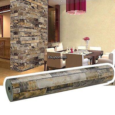 10M/3D Brick Stone Wallpaper Roll Textured Art Wall Paper Background -