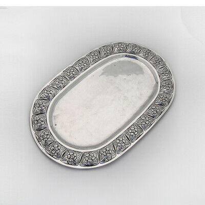 Mexican Rose Oval Tray Sanborns Sterling Silver 1945