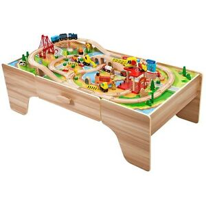 Wooden play table ebay for 100 piece cityscape train set and wooden activity table
