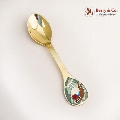 Christmas Spoon Michelsen Sterling Silver 1981 Vermeil Enamel Red Robin