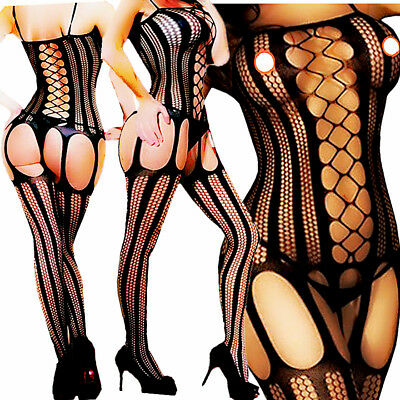 Women Sexy Lingerie Fishnet Sleepwear Body Stocking Thigh High Lace Bodysuit - Thigh High Fishnet