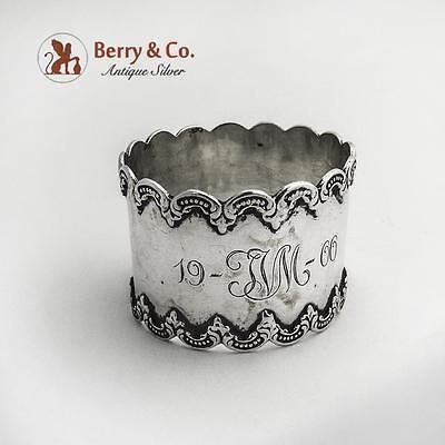 Scroll Border Napkin Ring Sterling Silver 1900