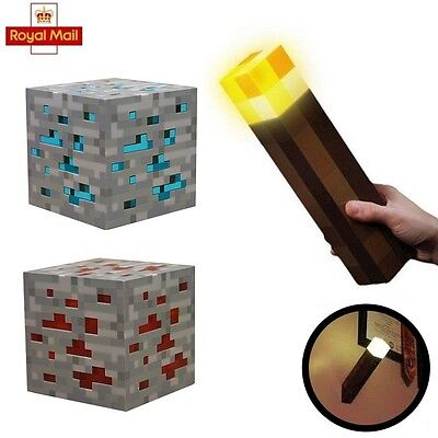 Minecraft Diamond Light Night Up Lamp stone Ore Cube Blue/Red Wall Torch Fun Toy