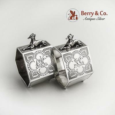 Egyptian Revival Figural Dog Pair of Napkin Rings Sterling Silver 1870