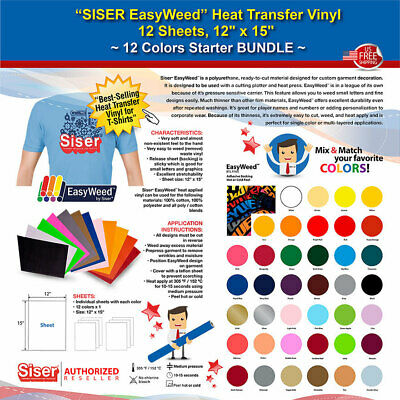 Siser Easyweed Heat Transfer Vinyl 12 Sheets 12x15 12 Colors Starter Bundle
