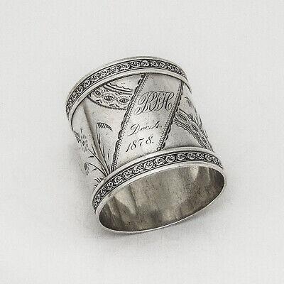 Bright Cut Engraved Napkin Ring Ornate Borders Sterling Silver 1870s Mono