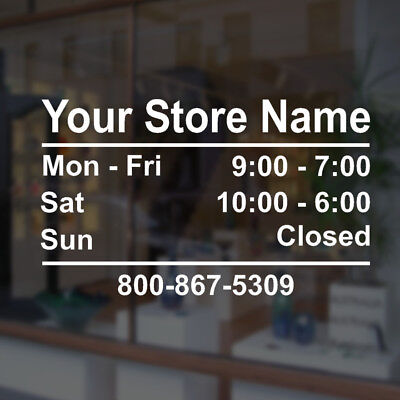 Customizable Business Store Hours Vinyl Window Decal Sticker Sign Glass Door T2