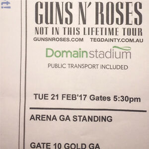 Guns And Roses Ticket Gold Ga Standing Scarborough Stirling Area Preview