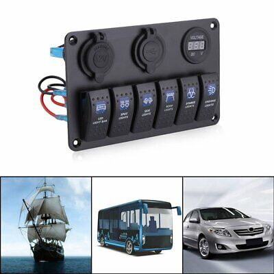 6 Gang Boat Marine Rocker Switch Panel 2 Usb Waterproof 12v24v Switch Panel B8