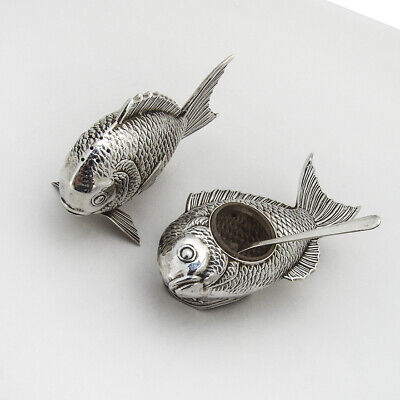 Japanese Fish Form Salt Dish Pepper Shaker Set 950 Sterling Silver