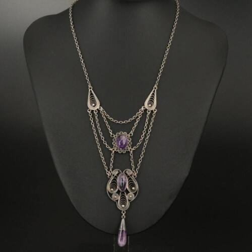Antique Sterling & Amethyst FESTOON Beautifully-Crafted Art Nouveau Necklace