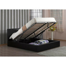 """Brand New -- King Size Ottoman Leather Bed + 10"""" Thick Orthopaedic Mattress --Same Day Free Delivery"""
