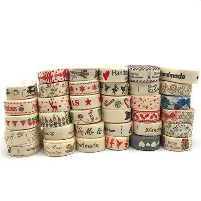 5yards 15mm Multi Design Handmade Printed Cotton Ribbon Christmas - Ivory Ribbon