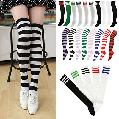 Women Girl School Stripy Striped Over The Knee Thigh High Stockings Long Socks