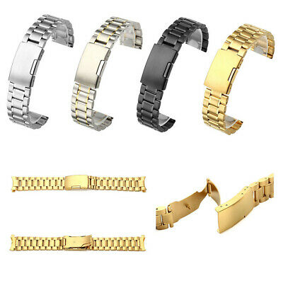 Stainless Steel Metal Watch Strap Band Mens Stainless SS Buckle Quality US Stock