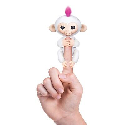 WowWee Fingerlings Baby Monkey Electronic Interactive Toy Robot Pet Pink & White