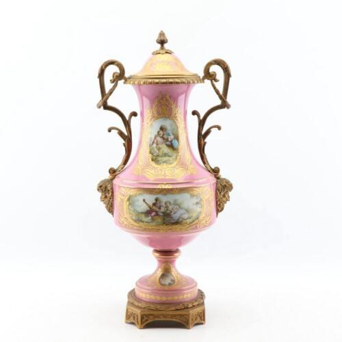 "1800s Sevres-Style Museum Urn: 24"" Rose Pompadour Porcelain Gilded Bronze Satyrs"