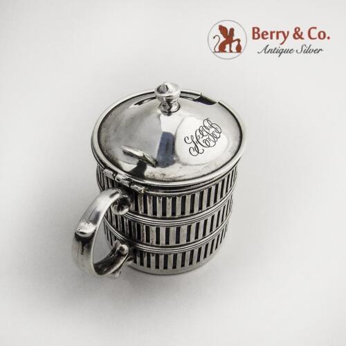 Mustard Pot Sterling Silver Cobalt Blue Liner 1910