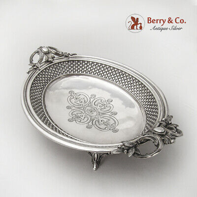 Ornate Basket Weave Serving Bowl Bread Tray Continental Silver 1890