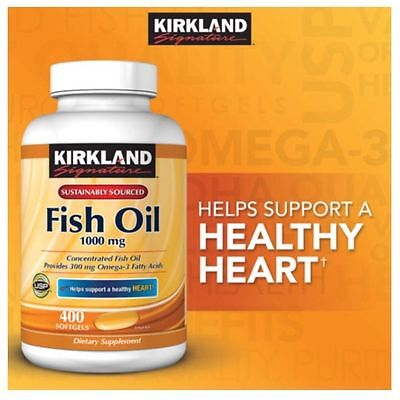 Kirkland Signature Omega 3 Fish Oil 1000 Mg 400 Ct  Exp 06 19      New