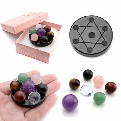 7 Chakra Ball Stones Natural Healing Fengshui Seven-Star Array Plate Set Gift US