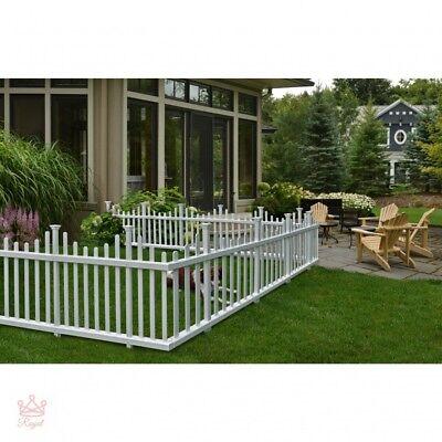 - Portable Dog Fence Outdoor Pet White Vinyl Gate No Dig Corner Picket Large NEW