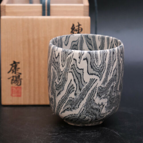 1121a  Koyo Matsui Japanese  pottery Neriage Yunomi Tea cup with box