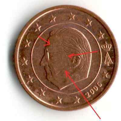 1 Cent 2006 Belgique, FAUTE, Le roi Albert II masqué.